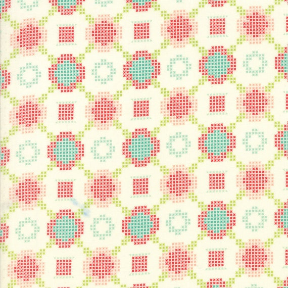 Cross Stitch Flower Designs On White, Handmade by Bonnie and Camille For Moda Quilt Fabric by The Yard 55144 18