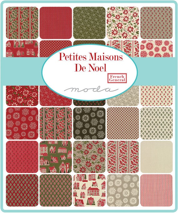 French General Layer Cake from Moda's Petite Maisons De Noel Collection. Classic Christmas Reds and Greens For A Timeless Quilt 13790LC
