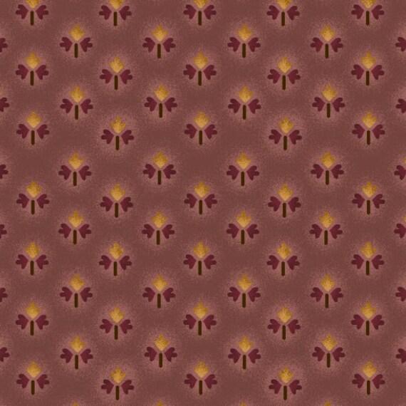 Primitive Fleur-de-lis As Oak Leaves On Tonal Deep Lavender Farmstead Harvest by Kim Diehl, Cotton Print Quilt Fabric by the Yard 6944 55