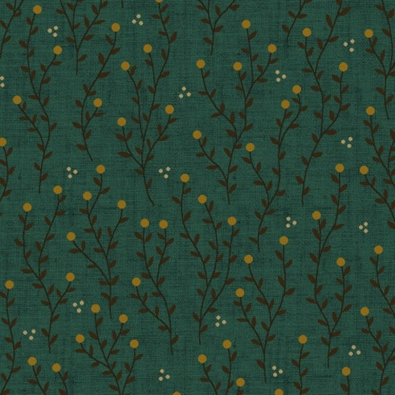 Directional Meandering Vines With Berry Buds, Dots On Teal Farmstead Harvest by Kim Diehl, Cotton Print Quilt Fabric by the Yard 6945 77