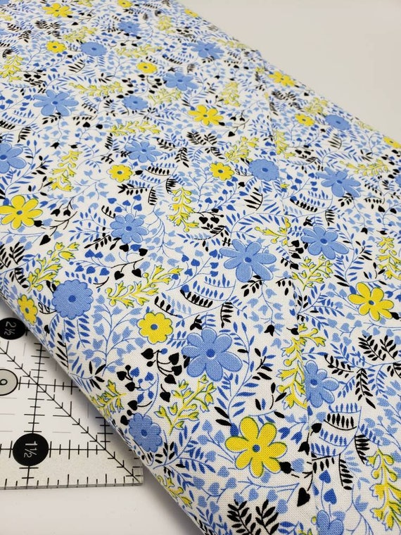 Blue Yellow Flowers on White Background, Feedsack Reproductions by Sara Morgan, Washington Street Studio Quilt Fabric by the Yard 643b