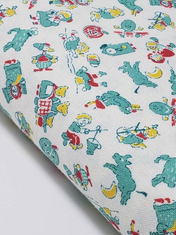 Light Red And Teal Storytime Nursery Rhymes 1930s Style Quilt Fabric By The Yard, Toy Chest From Washington Street Studio 340T