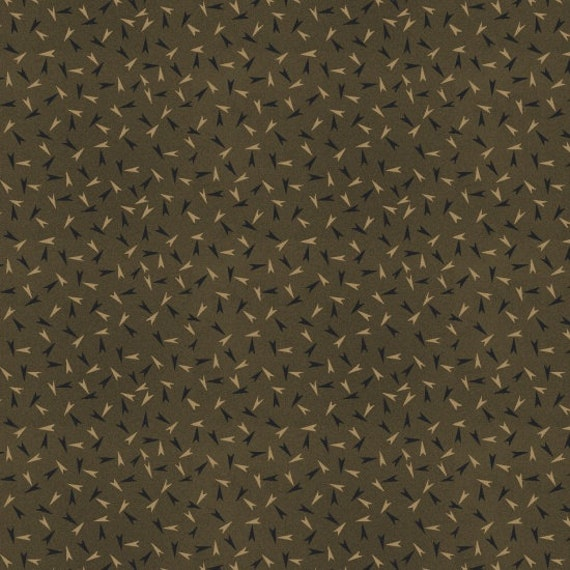 Arrowheads On Medium Olive Green, Spirit Of America Collection, Stacy West, Buttermilk Basin, Patriotic Primitive Fabric by the Yard 8863 67