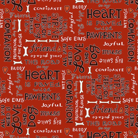 Dog Quilt Fabric, Fun Puppy and Dog Sayings On Red, Fabric For Dog Lovers, Dog Trainers, Dog Decor.  Quilt Fabric by the Yard