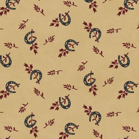 Primitve Folk Horse Shoe Toss Vintage, Red, Blue and Creme, Patriotic Quilt Fabric, Spirit Of America, Stacy West, Buttermilk Basin 8865 48