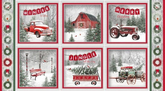 Holiday Quilt Panel From Jan Shade Beach With Classic Winter Scenes From A Christmas Tree Farm, Red Truck, Tractor, Barn and Wagons 6924 86