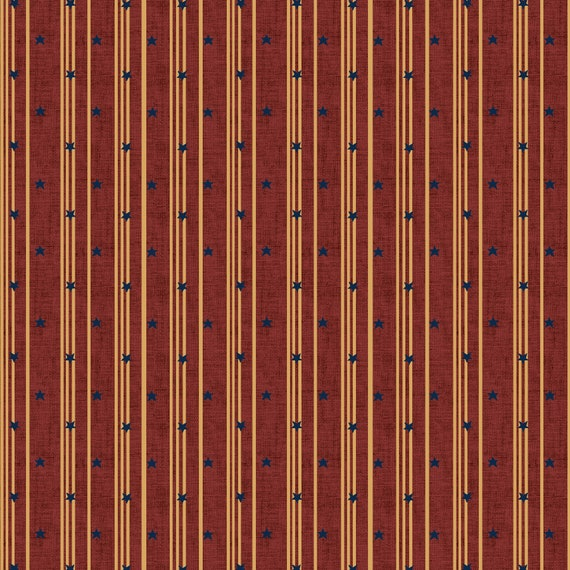 Liberty Star Kim Diehl Quilt Fabric By The Yard - Stars And Ticking Stripe Red 1582 88