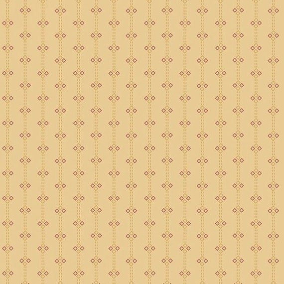 Kim Diehl Butter Churn Basics Beige Four Patch Stripe With Hint of Red, Henry Glass Fabrics by the Yard 6288 33
