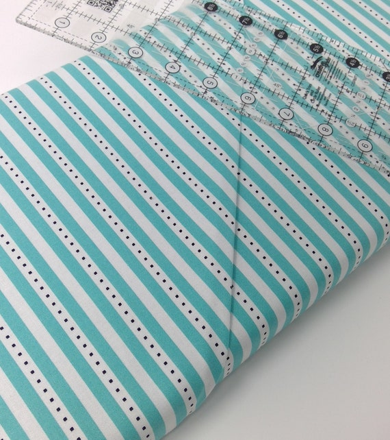 "Aqua Blue and White Stripes With Dots On White From Fab ""Friend"" ZY by Tickled Pink, Barbara Jones, Quilt Fabric By The Yard 6489 11"