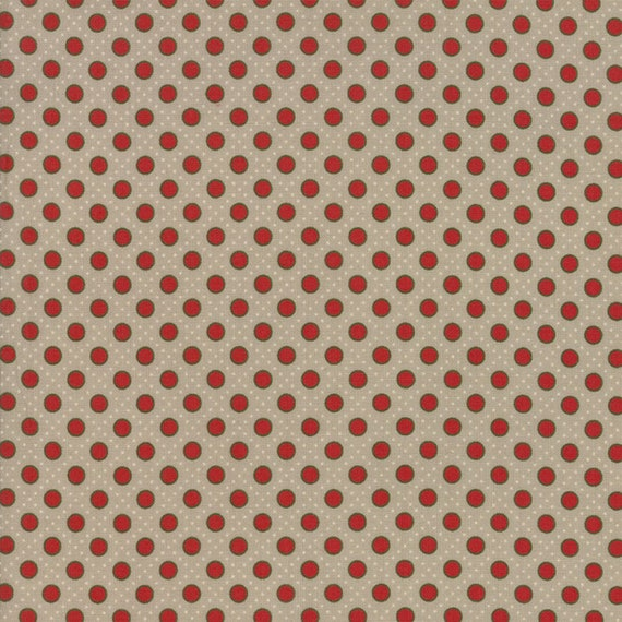 Little Red Dots With Green Rims On Tan Background Petites Maisons De Noel by French General Fabric by the Yard Moda Fabrics 13797 13