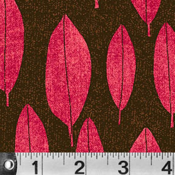 Always Blooming Bright Lime Pink Leaves On Chocolate Brown Background, Fabric by the Yard P&B Textiles. ablo 967p