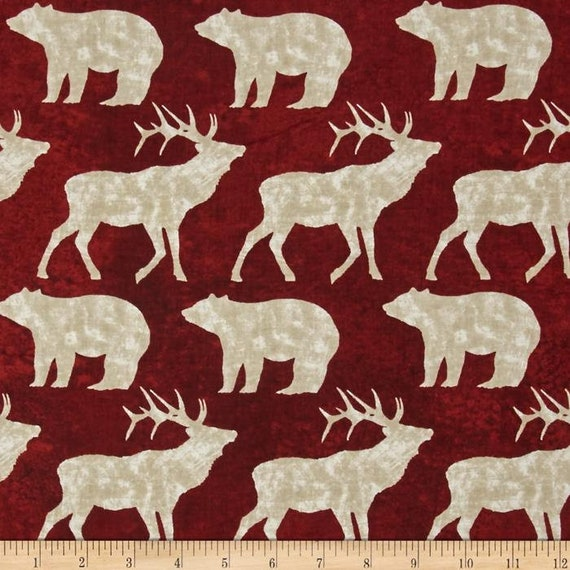 Elk And Bear In White On Barn Red Background, Elk Mountain by Clothworks Fabric By The Yard 1697 51