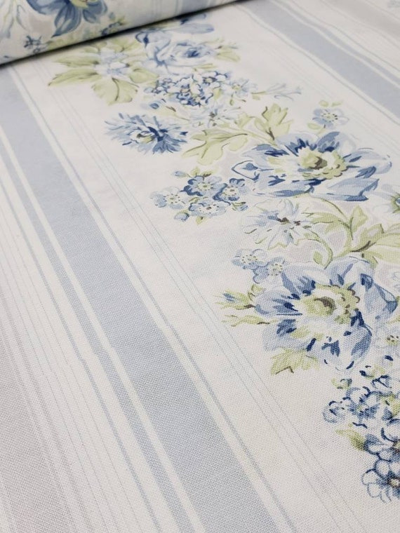 Wild Flowers by Shabby Chic Fabrics, Soft Blues, Greens and Gray On White Cotton Floral Border Print  752 B