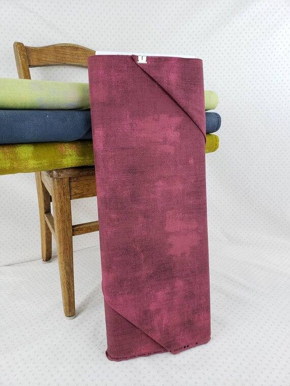 Dark Rouge Red Grunge Basics, Modern Textured Tonal Blender, Hints Of Burgandy and Pink, Moda Quilt Fabric by the Yard, 30150 63