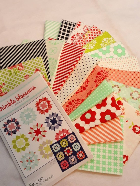 Swoon Quilt Kit With 20 Fat Quarters From Bonnie and Camille's Handmade Collection Plus Pattern by Thimble Blossoms