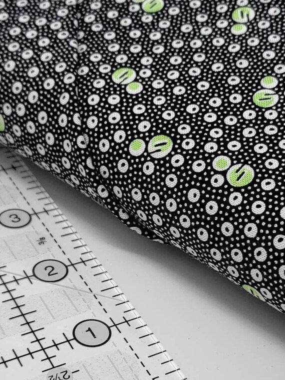 White And Green Bubbles And Dots On Black, Feedsack Reproductions by Sara Morgan, Washington Street Studio Quilt Fabric by the Yard 649G