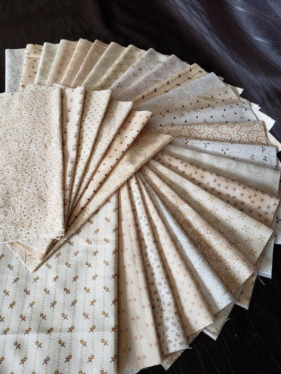 Kim Diehl Quilt Fabric Bundle of 30 Chubby Sixteenth Pieces of Neutral Butter Churn Basics, Henry Glass Fabrics