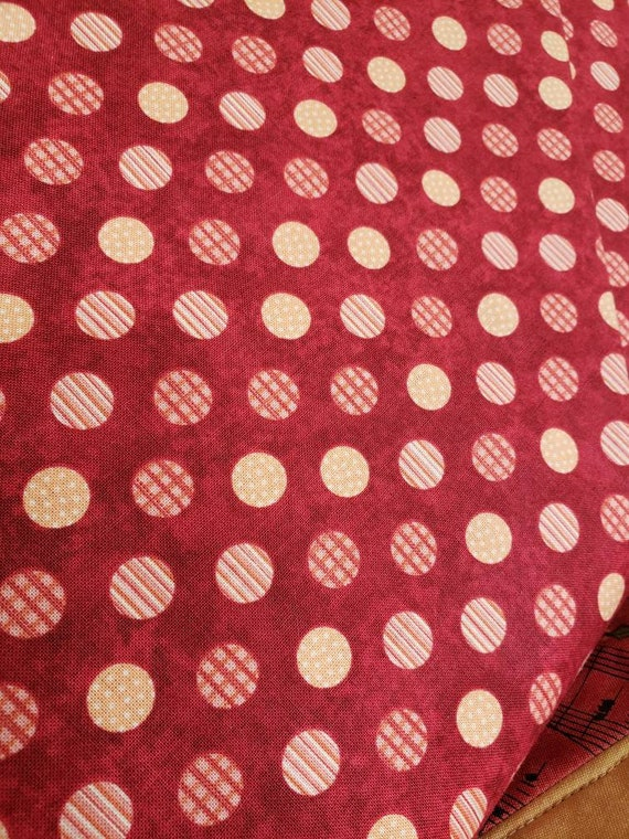 Yellow Polka Dots On Tomato Red, Winging It by Buggy Barn For Henry Glass Fabrics by the Yard 7782 88