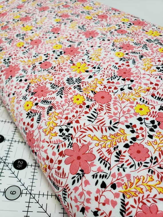 Coral Yellow Flowers on White Background, Feedsack Reproductions by Sara Morgan, Washington Street Studio Quilt Fabric by the Yard 643p