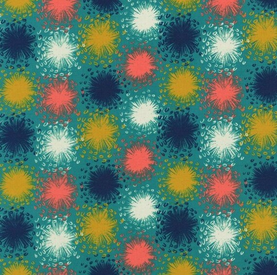 Mustard Gold, Navy Blue, Coral and White Fireworks On Teal Background, Cotton and Steel Fabric by the Yard, August by Sarah Watts 2005 001