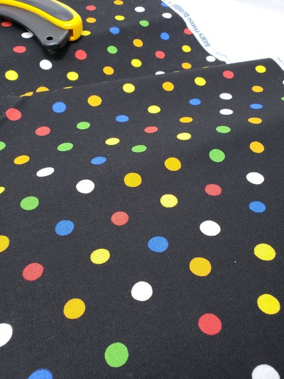 Happy Birthday Dots On Black Background From The Berenstain Bears Collection, Moda Fabric by the Yard  55525 17