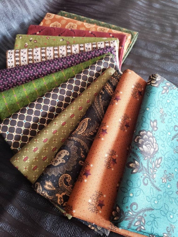 Kim Diehl Fat Quarter Bundle of 12 Handcut Mediums And Darks - Primitive Patchwork Prints For All Simple Harvest - Simple Appeal - Group Q