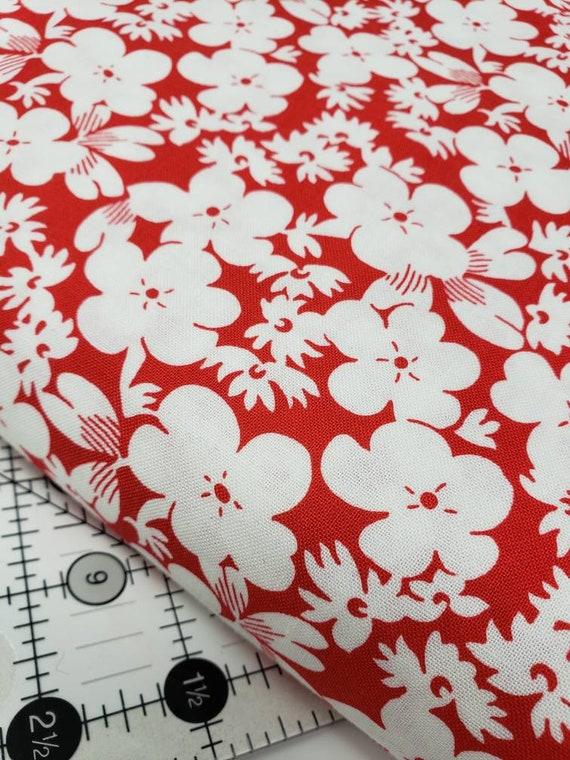 White Flowers On Vintage Red Background, Feedsack Reproductions by Sara Morgan, Washington Street Studio Quilt Fabric by the Yard 647r