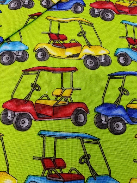 Golf Carts on the Green, Swing Time by Fresh Designs for Henry Glass Fabrics by the Yard, 9448 66