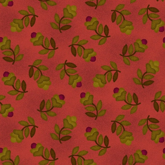 Tossed Green Leaves on Stem, With Small Bud, on Tonal Rhubarb Farmstead Harvest by Kim Diehl, Cotton Print Quilt Fabric by the Yard 6939 22