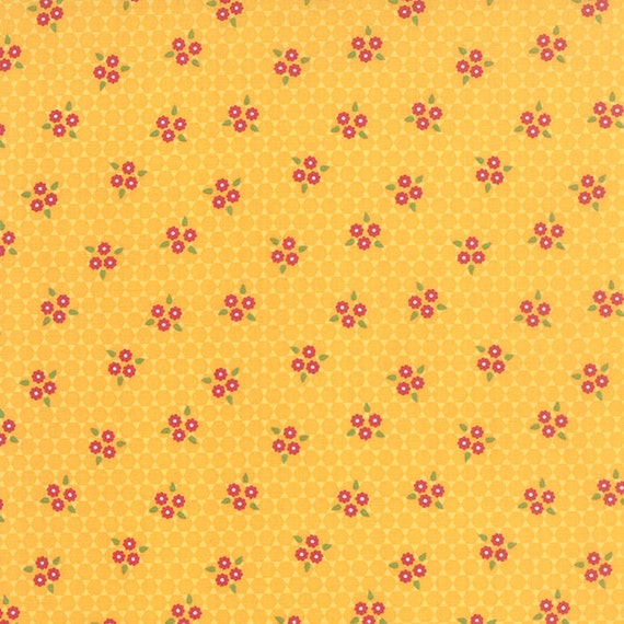 Meadow Bloom April Rosenthal Prairie Grass Quilt Fabric With Red Flowers, Leaves and Hexagons In Rich Bold Yellow By The Yard 24023 15