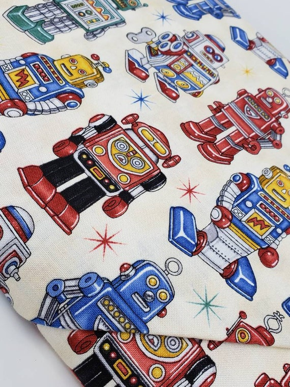 Where The Toys Are Robots On Cream Dan Morris for RJR fabric by the yard 1710 001