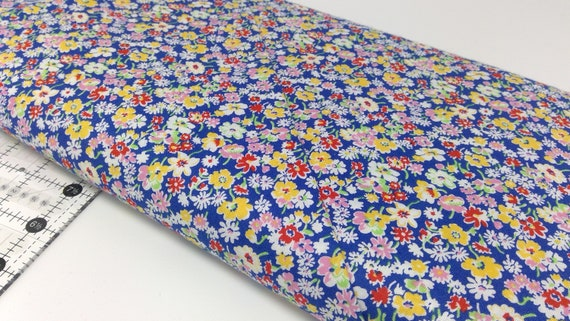 White, Yellow and Red Wildflowers On Navy, Toy Chest Florals From Washington Street Studio's For P&B Textiles, Fabric By The Yard 0411n