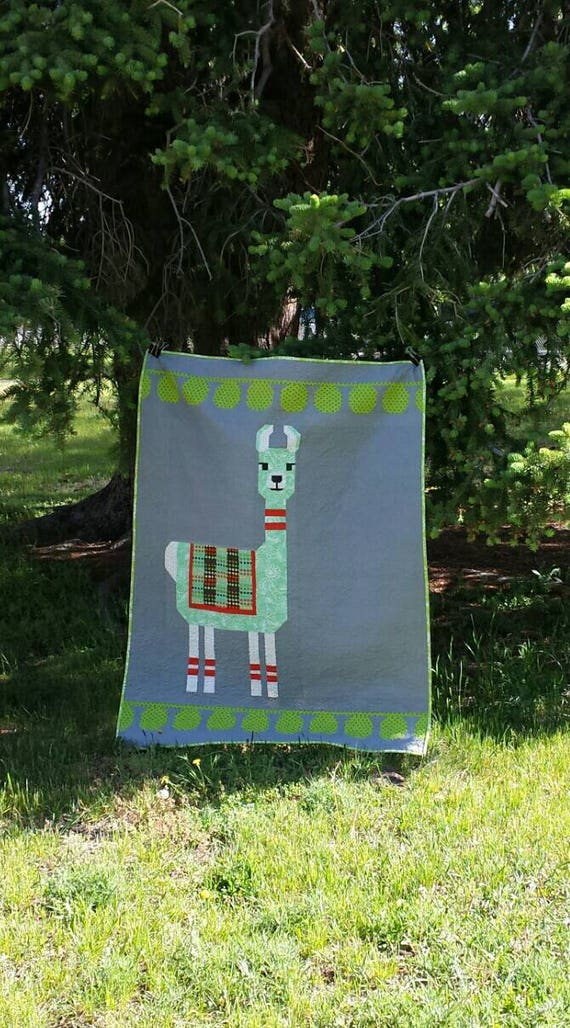 Modern Llama Quilt Kit. Fabric And Pattern For Pieced Animal Design, Gift For Child,  Kids Will Love This Quilt For Years