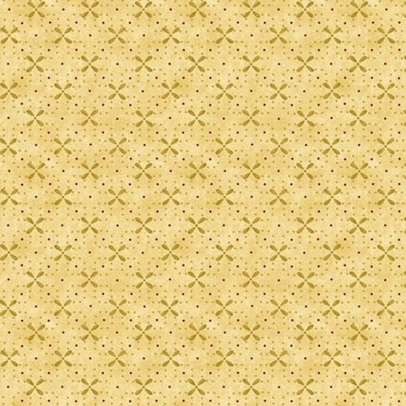 Kim Diehl Butter Churn Basics Beige Diagonal Cross Stitch With Hint Of Red, Henry Glass Fabrics by the Yard 6560 33