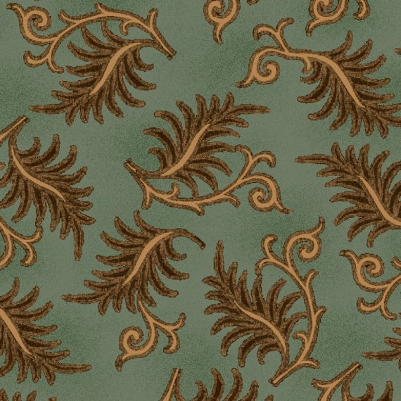 Brown Beige Toothed Leaves on Flourished Branch on Tonal Aqua Farmstead Harvest by Kim Diehl, Cotton Print Quilt Fabric by the Yard 6938 11