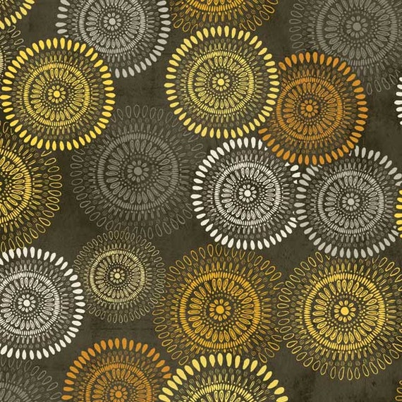 Bold Pencil Drawing Flowers In Yellow, Dark Grey and Black, Felicity for Wilmington Prints, Modern Spring Quilt Fabric By The Yard 42375 955