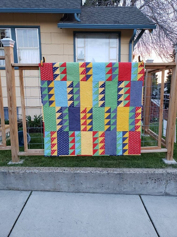 Modern Lap Quilt, Montana Handmade, Baby Shower Gift, Primary Color Blanket, 61 inches by 61 inches, Quilt Design Hearts and Hands