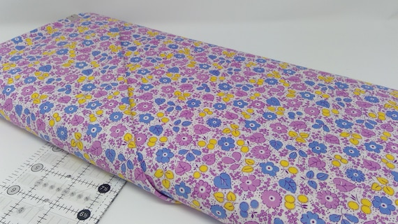 Lilac Lavender, Blue and Yellow Flowers, Toy Chest Florals From Washington Street Studio's For P&B Textiles, Fabric By The Yard 0415cb