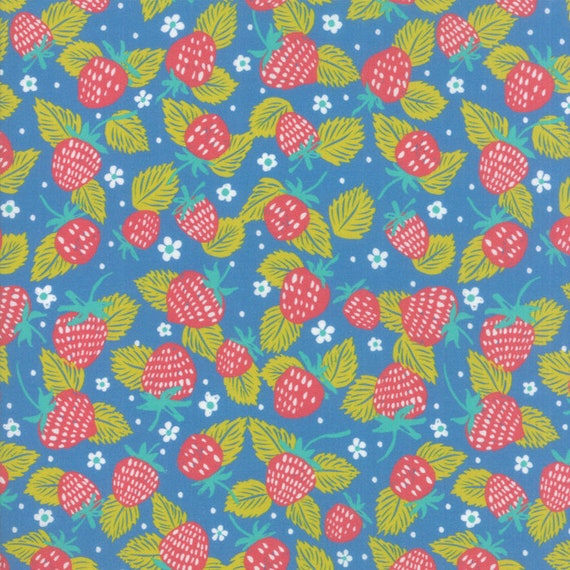 Strawberry Field On Blue, Digital Quilt Prints Crystal Manning by Moda, Fabric by the Yard 11832 16