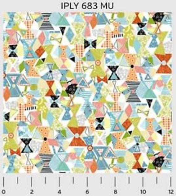 Triangle Patches In Green, Blue, White Background Shabby Chic Interplay By Nancy Heffron Quilt Fabric by the Yard For P&B Textiles. iply 683