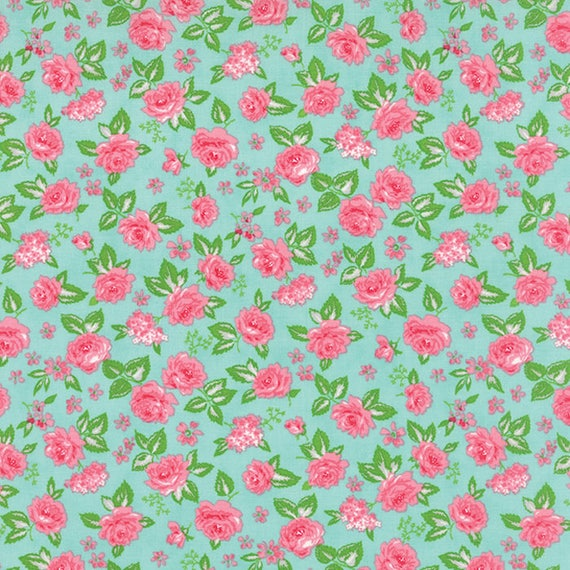 Chloe's Closet Sew and Sew Collection From Moda Fabrics. Pink Roses On Sea Foam Green Background. 33183-15