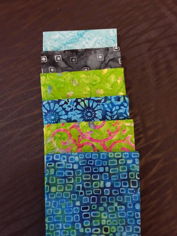 Batik Fabric Bundle of 6 Half Yards Hand Cut in Calamity Quilter's Studio. Blue, Grey, Pink, Green, Swirls, Squares, Flowers and Leaves