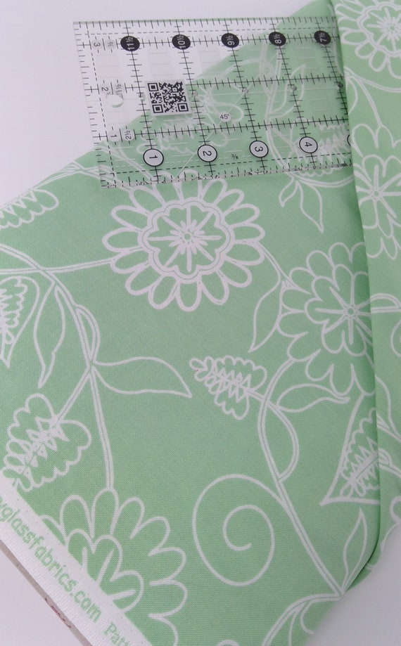 Seafoam Green Flowers On Stems With Leaves Clean Living by Barbara Jones of Quilt Soup, Quilt Fabric By The Yard 6693 11