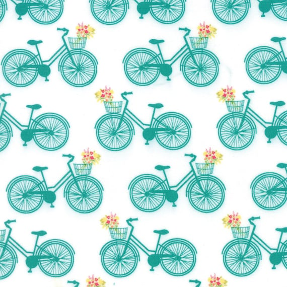 Pedal Pond Bicycle Fabric In Teal on White Background With a Front Basket Full Of Cute Little Flowers Acreage Collection by Shannon Orr