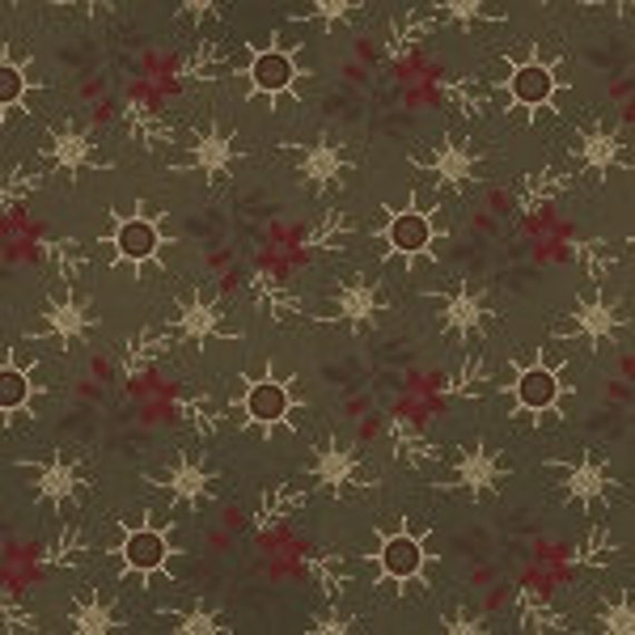 Calico Red Flowers On Olive In Primitive Folk Style, Patriotic Quilt Fabric, Spirit Of America, Stacy West, Buttermilk Basin 8864 68