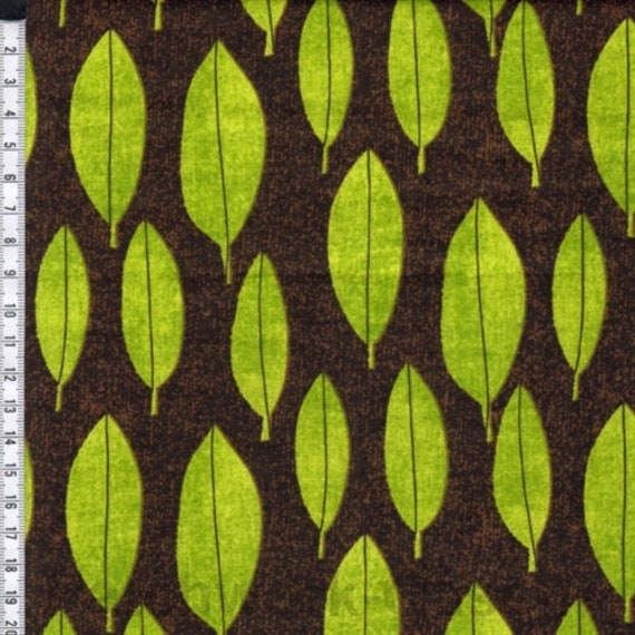 Always Blooming Bright Lime Green Leaves On Chocolate Brown Background, Fabric by the Yard P&B Textiles. ablo 967g