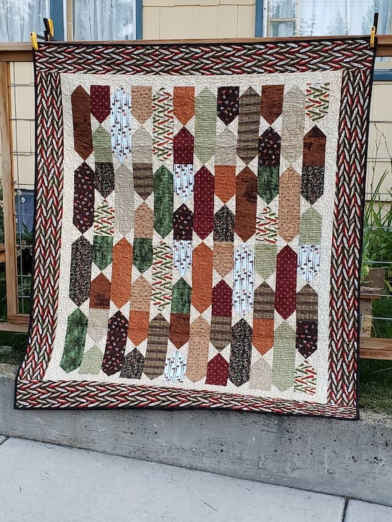 Fly Fishing Lap Sized Quilt, Handmade In Montana, Fishing Lodge Theme, Fishing Poles, Canoes, Paddles and Plaids, Gift For Husband Or Wife