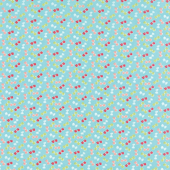 Reserved for Jody 4.5 yards of Little Pink and Green Bows On Aqua Blue Background, Little Ruby  For Moda, Quilt Fabric 55135 12