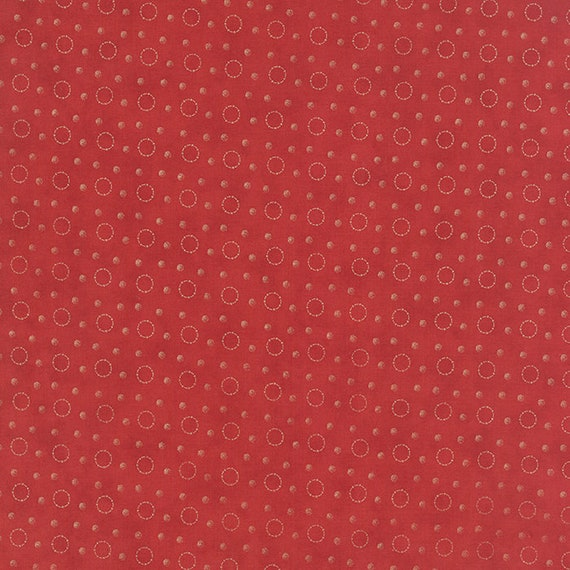 Poinsettia Red by 3 Sisters For Moda, Features Tan Gold Dot Circles and Small Gold Dots For Rustic Holiday Quilt Fabric By The Yard 44116 13