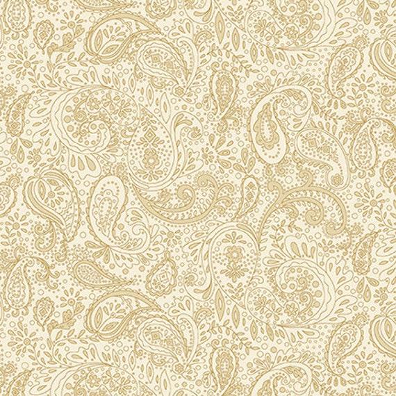 Kim Diehl Butter Churn Basics Beige Small Cream Paisley, Henry Glass Fabrics by the Yard 1444 44
